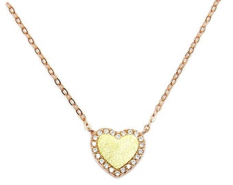 CZ Gift For Her .925 Sterling Silver, Rose & Yellow Gold Heart Necklace Jewelry , AD152