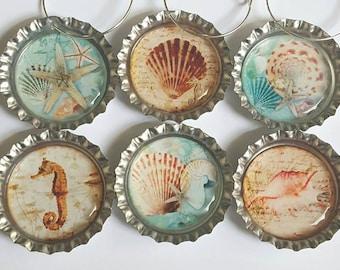 Sea Shell Wine Charms