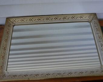 Vintage Mirror Tray * gold * cream * rectangle *