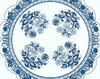 4 Round Paper Napkins   Party Napkins   Tea Napkins   Blue Danube Blue Onion Zwiebelmuster Pattern   Round Paper Napkins for Decoupage