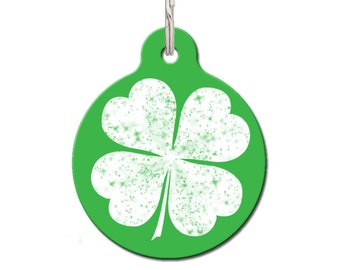 Lucky Pet Tag, Clover Pet ID Tag, Shamrock, Lucky Dog Tag, Cute Pet Tag,  | FREE Personalization