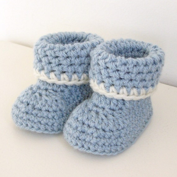 crochet pattern Cozy Cuffs Baby Booties folded cuff worsted