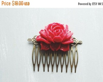 ON SALE Hair Comb, bright red resin rose hair comb