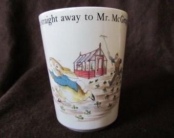 Vintage Wedgwood Peter Rabbit China Bathroom Beaker Beatrix Potter Stop Thief Peter Rabbit
