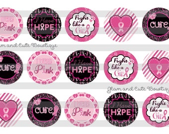 "Breast Cancer Awareness Pink Hope INSTANT DOWNLOAD Bottle Cap Images 4x6 sheet 1"" circles"