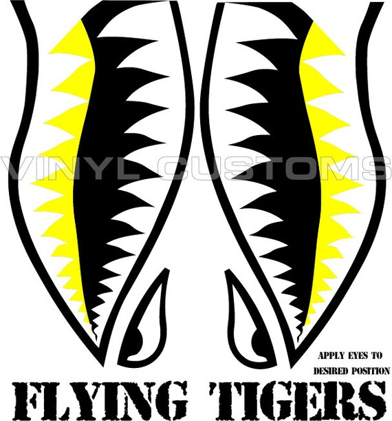 Flying Tigers Vinyl Decal Sticker Shark Teeth Hobby Ww2 Yellow