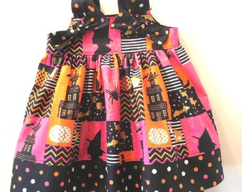 Girls Toddler Baby Halloween Neon Patchwork Witches Polka Dot Knot Dress & Capri Pants Outfit Sizes 6 Months to Girls Size 6
