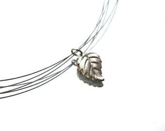 SIMPLICITY silver leaf necklace, hand sculpted art clay silver leaf, stainless steel finishing, beadalon wire, organic, art clay silver