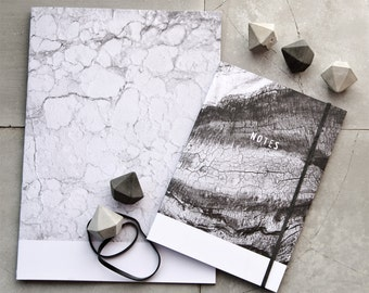 Textures by Nature Gift Set, Concrete Diamond Push Pins and Recycled Paper Notebook, A5 Marble and A6 Wood Journal, Minimalist Stationery