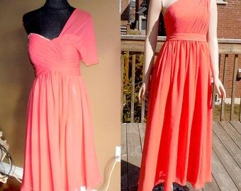 Coral bridesmaid dress, one shoulder dress, chiffon dress, coral prom dress