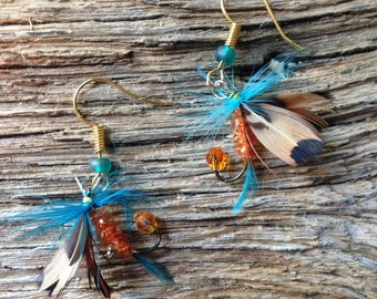 Orange and teal fly fishing fly earrings: Miami Dolphin colors fly earrings