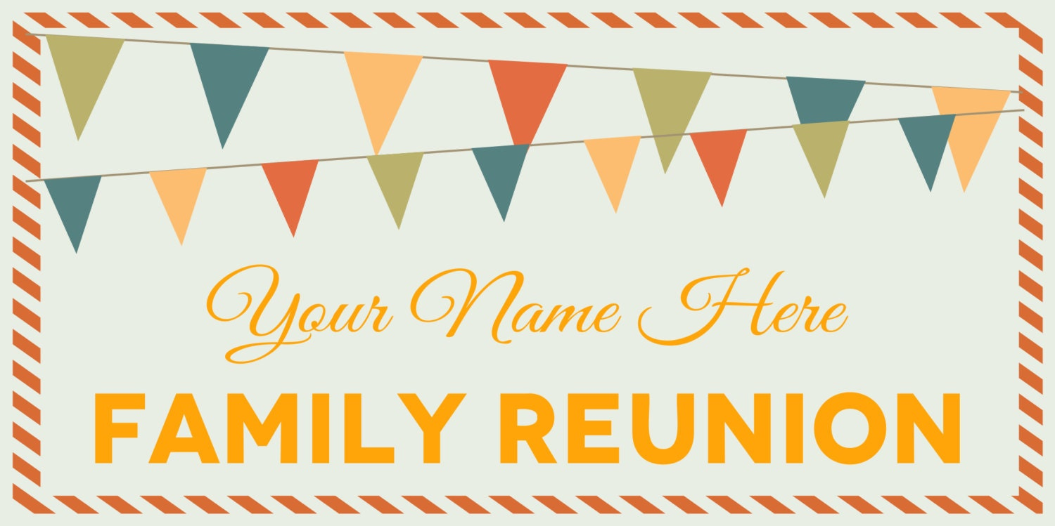 Family Reunion Banner With Flags