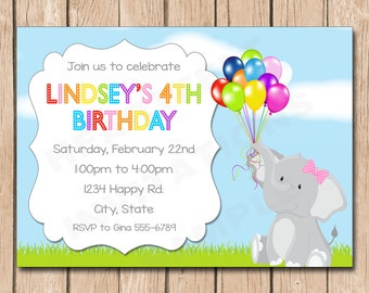 Elephant and Balloons Birthday Invitation - 1.00 each printed or 10.00 DIY file