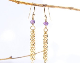 Amethyst Long Earrings. Purple Tassel Earrings. Gold Tassel Earrings. Amethyst Gold Earrings. Purple Long Earrings. Amethyst Tassel Earrings