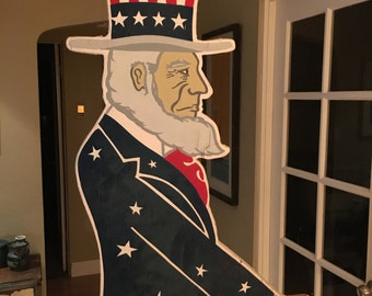 Tall Vintage Double Sided Hand Painted Uncle Sam Outdoor Ornamental Statue