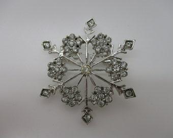Silver Tone Rhinestone Snowflake Brooch Pin