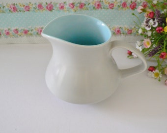 Poole Pottery vintage 1950's Twintone jug,Milk jug, Blue jug, English pottery, Blue creamer