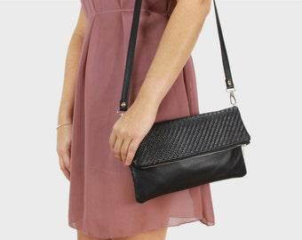 Foldover bag Finja with shoulder strap - black/braided leather