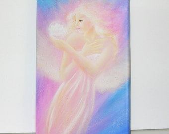 """Canvas art angel stretched on wooden frame: """"blossom"""" , contemporary painting, lilac,artwork"""