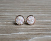 10mm White Druzy Studs with Gold or Rose Gold Base