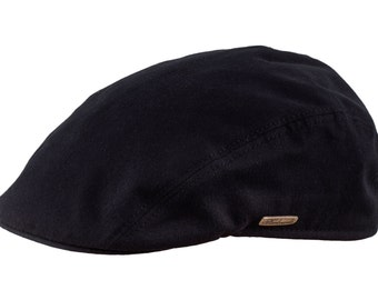 Men's Flat Cap made of Pure Emerizing Cotton (peach skin effect) - black