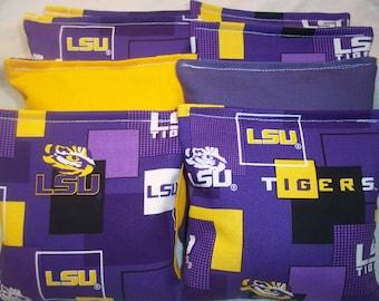 8 ACA Regulation Cornhole Bags - NCAA LSU Louisiana State University Tigers on Purple and Yellow Backs