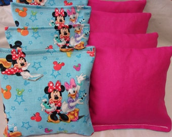 8 ACA Regulation Cornhole Bags -  Minnie and Mickey Mouse with Friends and Solid Pink