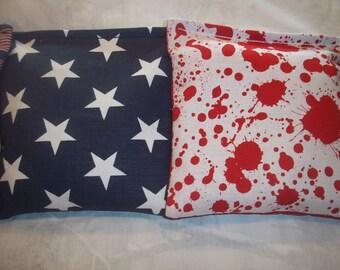 8 ACA Regulation Cornhole Bags - 8 USA Blue and White Stars and Blood Splatters