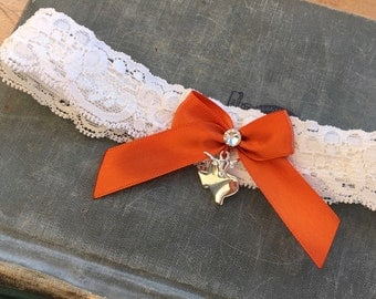 Texas Longhorn Wedding Garter, Texas Bridal Garter, Lace Garter, Silver Longhorns, Ivory & Burnt Orange Garter, texas garter