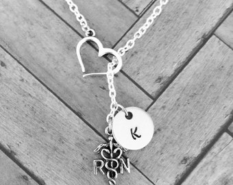 RN nurse gift personalized charm with letter - Nurse necklace - RN Necklace - Registered Nurse RN Medical Lariat Necklace - nursing student