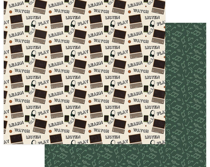 2 Sheets of Photo Play REAL GENIUS 12x12 Scrapbook Paper - Technology (School Theme) RG2277