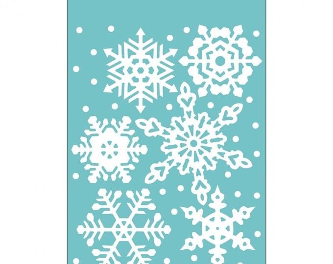 New! Sizzix Textured Impressions Embossing Folder - Falling Snowflakes by Sharyn Sowell 661544