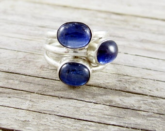 Blue kyanite ring Sterling silver three stone ring triple band Size 8.5 September birthstone Statement jewelry