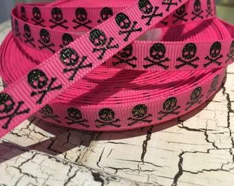 """3 yards 3/8"""" Black Halloween Glitter SKULL on Pink grosgrain ribbon"""