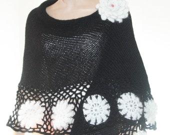 Hand Knitted Crochet Shawl Mohair/Triangle Shawl/ Handmade Shawl Black