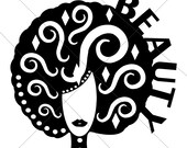 African American Decorative Beauty Afro - SVG Instant Digital Download