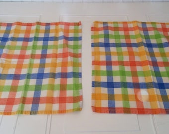 Vintage Dish Cloth Or Napkins Set Of Two Checked Cloth Napkins