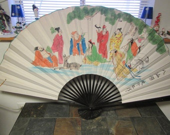 vintage Large DECORATIVE ORIENTAL Hand FAN  Opens to 63 inches wide