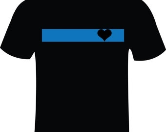 Thin Blue Line with HEART T-Shirt