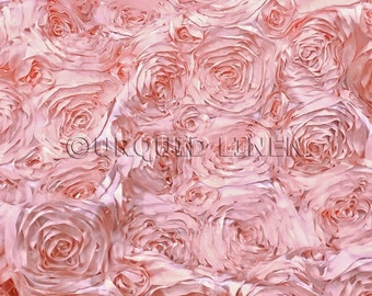 Rose Satin in Blush - Decorative Fabric With A Rose Embroidery Throughout - Best for Weddings, Bridal Parties, and Events