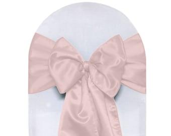 YCC Linen - Blush Satin Chair Sashes (Pack of 10) | Wedding Chair Sashes