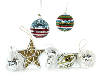 CLEARANCE  Mirrored Glass Mosaic Christmas Ornaments, Set of 7
