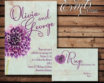 wedding invitations PRINTED - Purple Dahlia invitation and rsvp