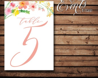 Table Numbers - Watercolor Peach Floral 109
