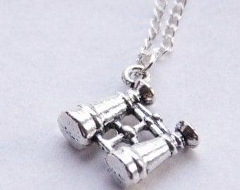 Silver Binoculars Necklace, Birdwatcher Necklace, Dainty Binoculars Necklace, Travel Gift, World Traveller Necklace, Bird Watcher Gift, Gift