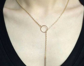 Gold Bar Y Necklace // Lariat Necklace // Gold Necklace // Bar Jewelry Jewellery