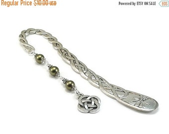 On Sale Celtic Style Bookmark Green Beaded Book Mark