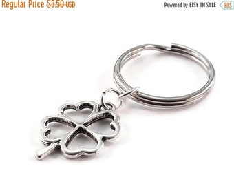 On Sale Four Leaf Clover Key Chain Irish Style Silver Metal Key Ring