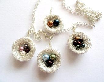 Sterling Silver nest ,swarovski pearl, birthstone birds nest, necklace ,swarovski pearl birthstone bird nest pendant