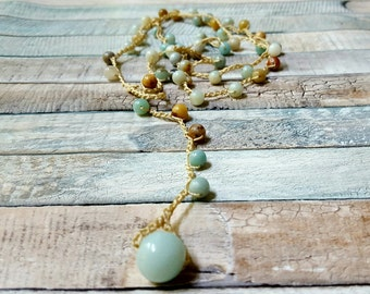 Long beaded wrap necklace, amazonite necklace, beaded lariat necklace, crochet beaded jewelry, cruise wear, resort wear, destination wedding